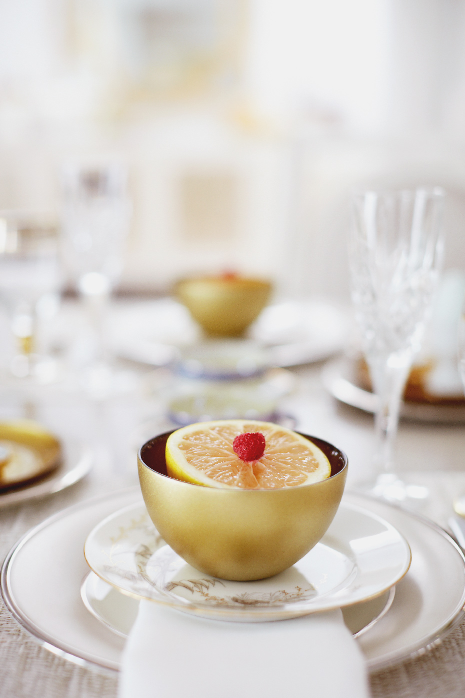 Stacey Van Berkel Photography I Elegant breakfast of raspberry topped grapefruit