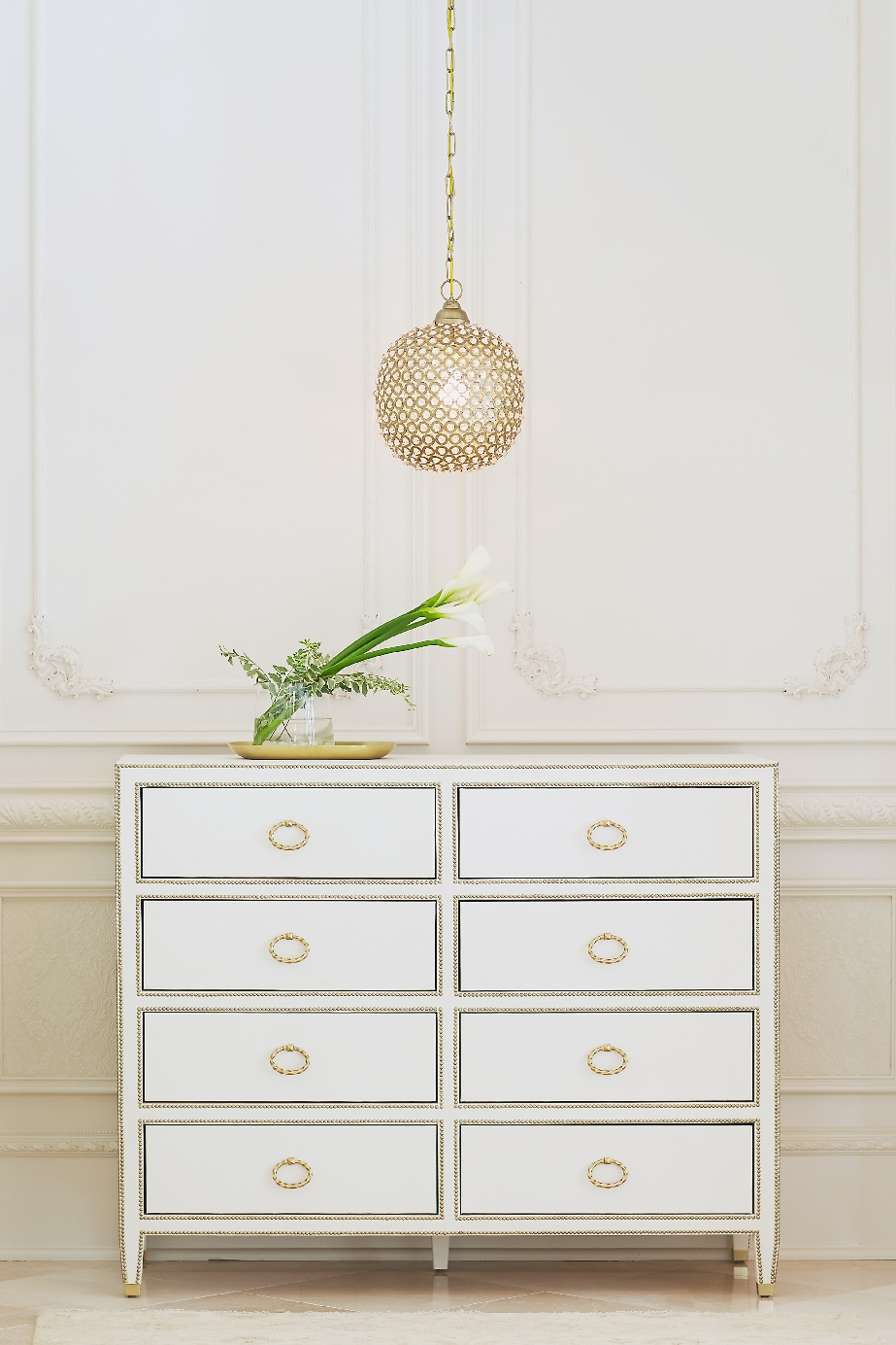 Stacey Van Berkel Photography I Elegant dresser with pendant light I White on white I Parisian Apartment I Bernhardt Furniture