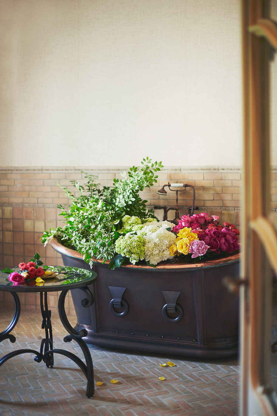 Stacey Van Berkel Photography I Copper tub full of beautiful flowers I Bernhardt Furniture