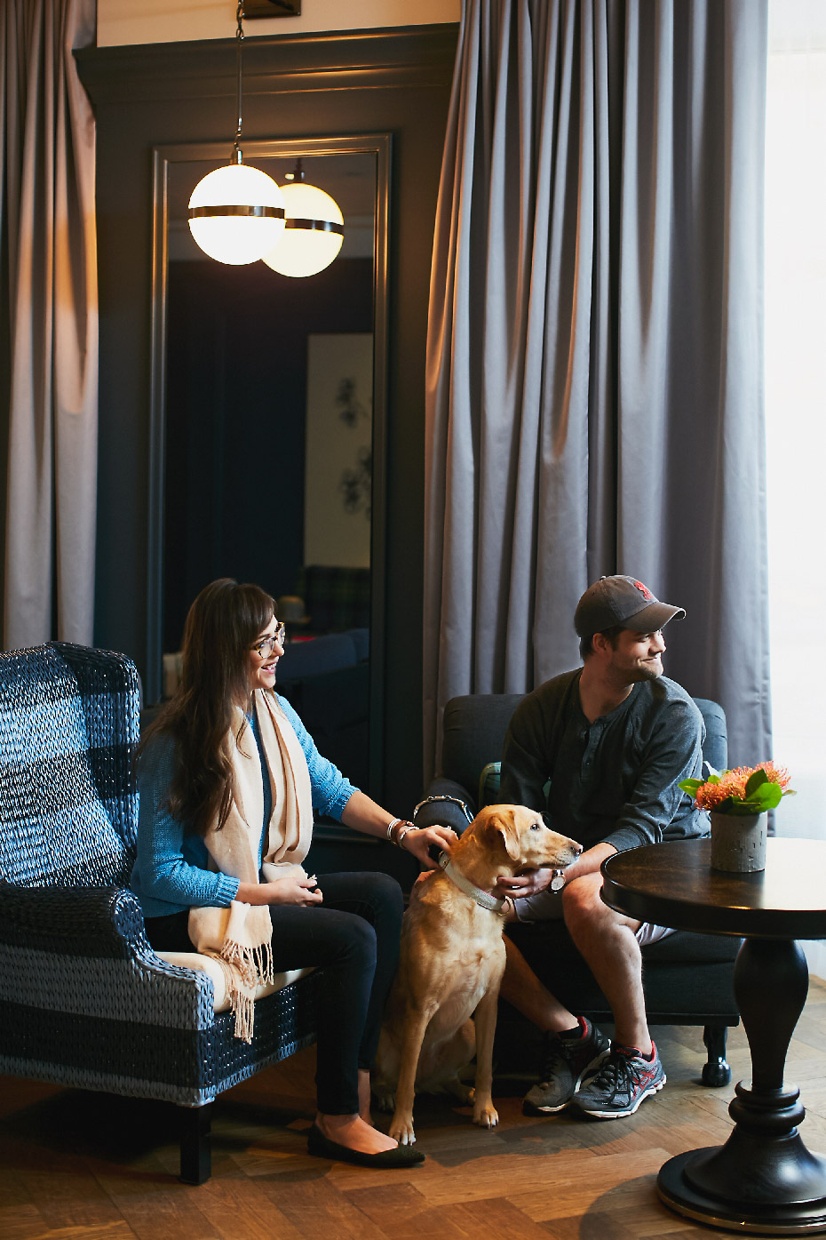 Stacey Van Berkel Photography I Hip young couple with their dog at the Cardinal Hotel I Kimpton Hotel I Dog friendly hotels I Winston-Salem, North Carolina