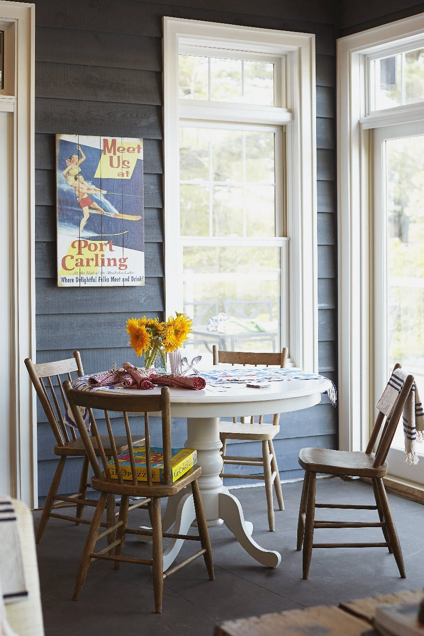 Stacey Van Berkel Photography I Lake house interior I Breakfast room with sunflowers I Muskoka, Ontario, Canada I Shot for Style at Home Magazine