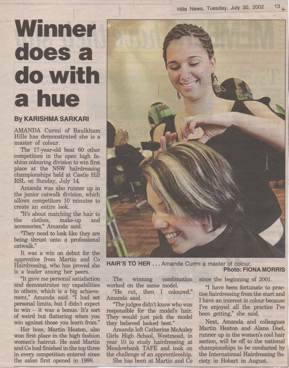 NSW Hairdressing Colourist Winner News Article