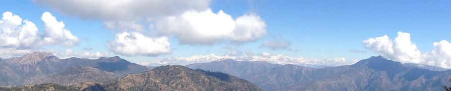 View of the Himalayas from Kunjapuri Devi temple in Northern India.