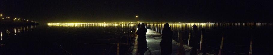 Pontoon Bridge at night, Kumbh Mela festival, India, 2013