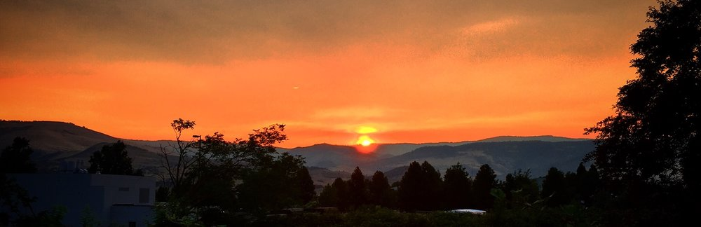 Rogue Valley sunrise, fire season, Oregon.