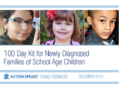 - The Autism Speaks 100 Day Kit is a tool designed to help assist families of children between the ages of 5 and 13 recently diagnosed with autism during the critical period following an autism diagnosis.