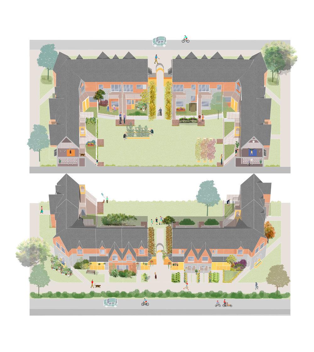 Homes around a garden