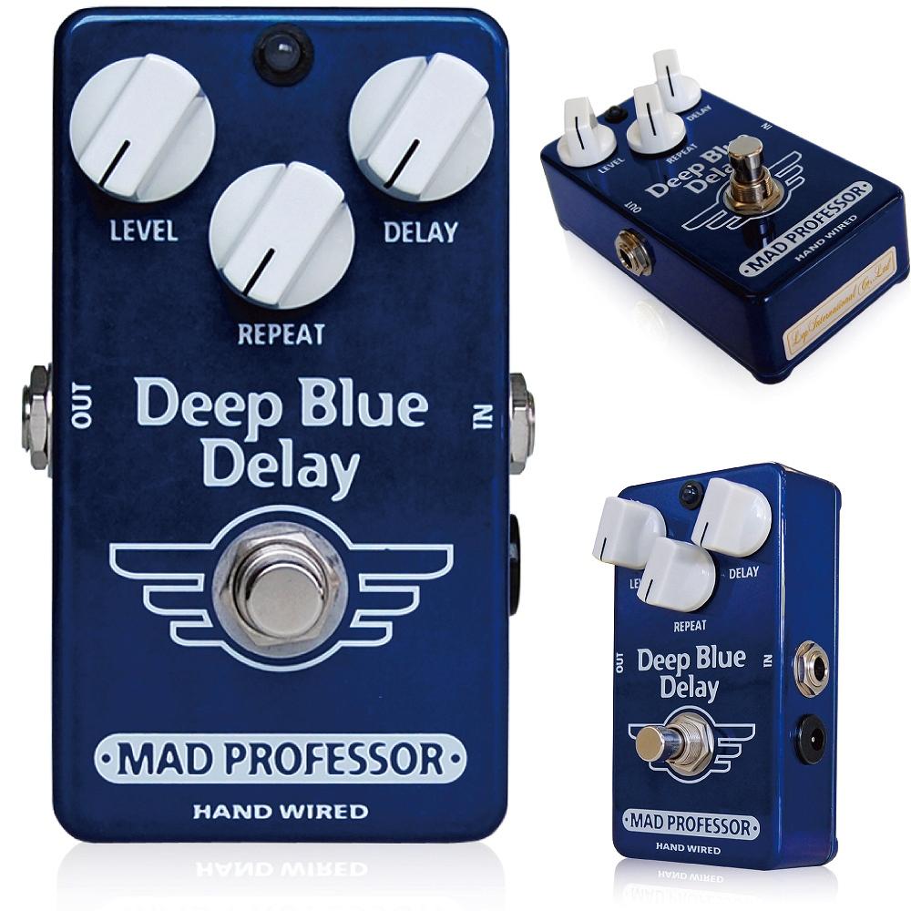 """Mad Professor / Deep Blue Delay マッドプロフェッサー / ディープブルーディレイ フィンランドにてハンドメイドで作られているプレミアムクオリティのディレイペダルです。なんとあのBJFが作ったペダルとしても有名です。 ディープブルーディレイは非常にナチュラルなサウンドをもつデジタル/アナログディレイです。このディープブルーディレイはクラシカルなテープエコーユニットと同域のデプスを持ち、さらにアンプの前に、またアンプのLOOPにも 使えるように最適化されています。 このディレイはノイズリダクションは搭載されておりません。これにより非常にナチュラルなディレイサウンドを表現することに成功しました。 ドライのサウンドは限りなく短い回路で設計されており、なにひとつつフィルタリングされておりません。 すべてのつまみを前回にしても音が歪むことなく非常に美しいディレイサウンドが出せるのが特徴です。 エコーサウンドはあらゆる極端なセッティングにも干渉なしにフィットするよう設計されています。  このペダルは さまざまなディレイペダルが深刻な音となってしまう 歪みサウンドなどで最高の威力を発揮できるようBJFがデザインしました。 このディレイはこれらの機能を持ちながらもこの小さいケースに詰め込むことに成功しました。 (Width x Length x Height :69mm x 111mm x 50mm including jacks and knobs)  あなたはアンビエンスなディレイサウンド、ビンテージテープエコー、さらには自己発振などもいともたやすく作り出せるように設定されています。 Current consumption: 25 to 32 mA depending on delay setting Voltage range: 8V to 15V (below 7,5 V delay signal will be muted) Input impedance IZ: 180K Ohm's Output drive capability: 10K Ohms Maximum input voltage: 2V peak 650mV rms Signal to noise ratio: 80dB Delay time: approximately 25mS to 450mS Power requirement: supplied via 2,1 mm standard jack Input and output connections: via 1/4"""" Switchcraft Complete bypass and input of circuit: grounded when in bypass"""