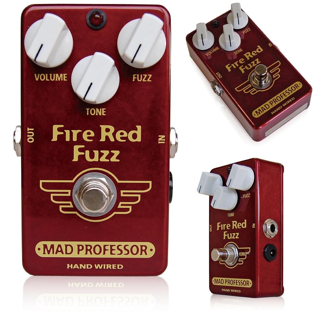 Mad Professor / Fire Red Fuzz マッドプロフェッサー /ファイアレッドファズ フィンランドにてハンドメイドで作られているプレミアムクオリティのファズペダルです。 FIRE RED FUZZは簡単な操作で圧倒的なロングサステインとたくさんのトーンバリエーションをもつ新世代FUZZペダルです。 サウンドは適度なコンプレッション感と、全てのフレットで同じサステインが同居するすばらしいFUZZサウンドを誇っています  特にデザインされたトーンコントロールにより、ウォーミーなメロウファズサウンドから、MIDを大胆に削った明るいブライトなFUZZまで簡単に作り出せます。 FIRE RED FUZZはクラシックファズのバリエーションではなく、非常に多彩なトーンをもった独特なファズペダルです。 粘りけのあるダークなファズトーンから、カッティングにも使えるようなブライトなトーンまでの幅広さは、ライブにおいてはもちろん、特にレコーディング環境においてトラックを分けたりして使うことでも効果を発揮します。 Electrical specifications Supply voltage range: 7,5 to 18VDC Current consumption at 9VDC: 2,5 mA Input inpedance: 52K Ohm's Output impedance: 50K Ohm's Complete bypass (true bypass) 種類:ファズ(ギター用) アダプター:9Vセンターマイナス 電池駆動:9V電池 コントロール:VOLUME、TONE、FUZZ