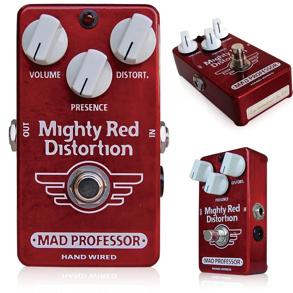 Mad Professor /Mighty Red Distortion マッドプロフェッサー /マイティレッドディストーション BJFデザインのハイゲインディストーション! 最高峰のディストーションペダルとして伝説を築いたBJFEの総帥が作り出す、新たなディストーションペダルです。 すこし古くさいサウンドを、現代のニーズに合わせて作りだすプレミアムクオリティの最強ディストーションが、ここにあります。  フィンランドでハンドメイドで作り上げられたプレミアムクオリティのディストーションペダルです。 Mighty Redは、80年代後半のコンプレッションのかかった歪みスタイルを忠実に再現したハイゲインディストーションペダルです。 操作方法は非常にシンプルで簡潔、それでいて透明感のある 美しい歪サウンドからハイゲインディストーションサウンドまでをカバーできます。 幅広い周波数レンジを持ち、他のペダルと組み合わせての相性も抜群です。特にLittle Green Wonderのようなオーバードライブは、Mighty Redのプリゲインペダルとして使えば、よりピントを中心にあわせたサウンドを作り出すこともできます。 このペダルを設計するのにノイズサスプレッサーやエキスパンダー は入れてありません。その代わりに、私たちが開発した特殊な、アンプの動作をそのまま再現させることができる技術と、低雑音増幅技術によって、ここちよいサステインと、高電流消費 (7.5Vから18Vまで対応可能)により、歪みのレベルを帰ることもできます。 80年代サ ウンドのペダルは誰もが待ち望んでいたものですが、ノイズや汎用性の問題もあり、なかなかペダルボードに入れられるものではありませんでした。プレゼンス はアッパートレブルを加える回路になっていますのでミッドレンジにはなんの加工もせずにダイレクトにMIDの効いたウォームな歪みサウンドが奏でられま す。。 コントロール ボリューム 音量の調整 ディストーション 歪み量の設定 プレゼンス アッパートレブルのコントロール。ミッドレンジの音質を変えることなくTONEを加えることができます。 Electrical specifications Supply voltage range: 7,5 to 18VDC Current consumption at 9VDC: 10,6 mA Max gain: 62dB Max output: 1V pk-pk or 500mV rms Signal/Noise ratio: approximately 96dB 種類:ディストーション(ギター用) アダプター:9Vセンターマイナス 電池駆動:9V電池 コントロール:VOLUME、PRESENCE、DISTORT.
