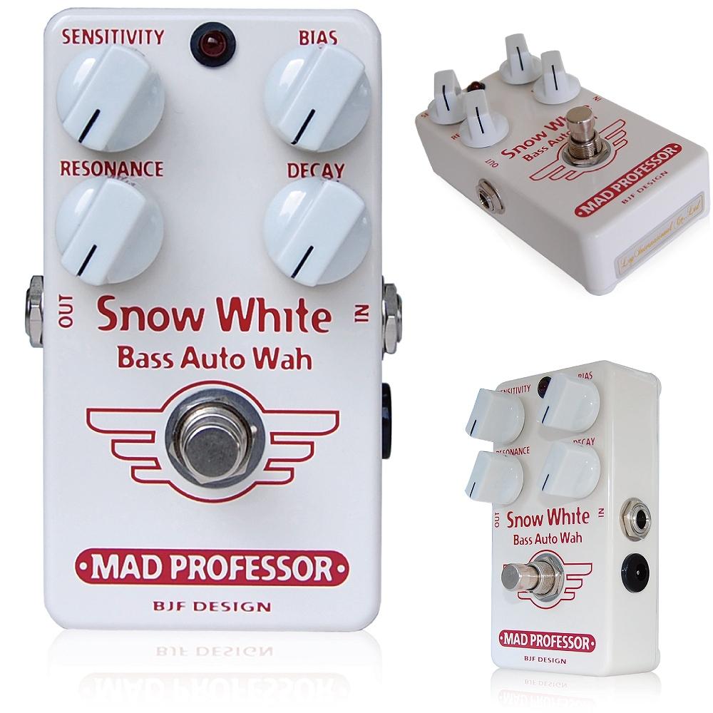Mad Professor /Snow White Bass Auto Wah マッドプロフェッサー /スノウホワイトベースオートワウ Mad Professor Snow White Bass Auto Wahは、フィンランドにてハンドメイドで制作されるオートワウペダルです。 高品質なコンポーネンツのみを厳選して搭載しているため、長年にわたってトラブルなく、いつまでも音楽的なトーンを維持できます。 ベースの周波数帯域に完全に合致するよう調整されており、さまざまなプレイングスタイルやお好みのサウンドキャラクターに合わせて設定することができます。 1991年にBJFが制作した、リアルワウペダルに非常に近い音色が特徴のラックマウントタイプのリモートワウペダルの回路を改良して作られています。 Snow White Bass Auto Wahは、オートワウ/エンヴェロープフィルターとして他に類を見ない、速いレスポンスを実現し、さらにそれを4つのコントロールで詳細に調整できます。 フィルタが閉まるスピードを調整するDecayコントロールを搭載しており、1音ごとにワウがかかるような非常に速い効果から、トラディショナルなゆっくりとしたオートワウサウンドまで自在に設定できます。 コントロール SENSITIVITY:フィルターのトリガーレベルを調整します。ベースのアウトプットやタッチに合わせ、慎重に調整して下さい。ベースのヴォリュームノブを調整することで、フィルターのセンシティビティの微調整も可能です。 BIAS:フィルターの共鳴周波数を調整します。SENSITIVITYコントロールを最小にしたとき、BIASコントロールでスイープフィルターとしてお使いいただけます。 RESONANCE:フィルターのシャープネスやQコントロールとして使用します。 DECAY:フィルターが閉じるまでの速さを調整します。 ご注意:回路にはボルテージコントロールフィルターを採用しているため、最初に電源を入れてから動作が安定するまで少し時間がかかる場合があります。 Electrical specifications Supply voltage: 9VDC Current consumption at 9VDC: 15mA Input inpedance: 500K Output impedance: 1K Max input -20dBV Complete bypass (true bypass) 種類:オートワウ(ベース用) アダプター:9Vセンターマイナス 電池駆動:9V電池 コントロール:SENSITIVITY、BIAS、RESONANCE、DECAY