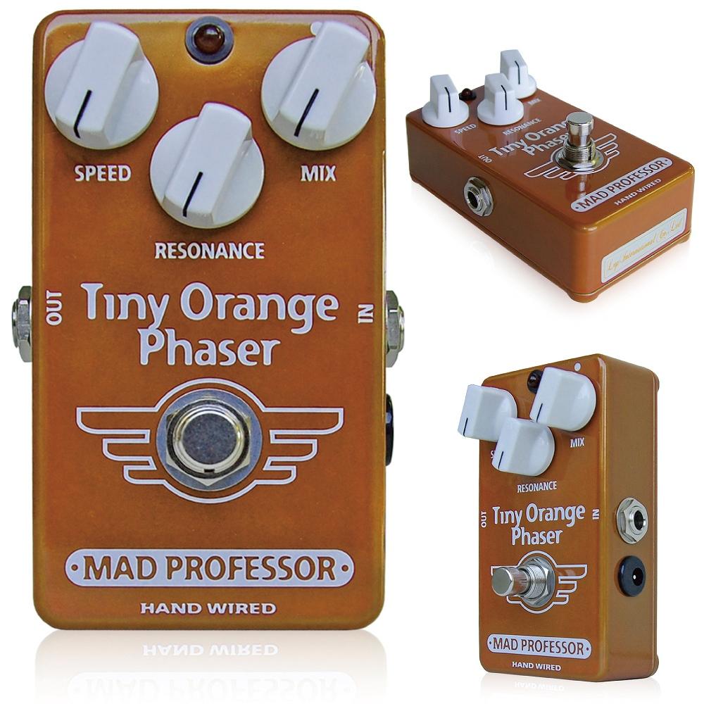 Mad Professor / Tiny Orange Phaser マッドプロフェッサー /タイニーオレンジフェイザー MAD PROFESSOR Tiny Orange Phaserは、フィンランドにてハンドメイドで作られているプレミアムクオリティのフェイザーペダルです。 多くのフェイザーが様々な楽器で使えるように作られているのに対して、このTiny Orange Phaserは完全に、エレキギターで使うことに特化して製作されています。そのため、エレキギターの持つ帯域を完全にとらえ、効果的にエフェクトをかけることができます。 回路上のコンポーネントを手作業で厳選しているため、トーンは音楽的、かつ完全にバランスされています。 そのサウンドは、3つのコントロールノブで、プレイヤー独自の味付けにファインチューンすることができます。 SPEEDコントロールは、モジュレーションスピードを設定します。内部LFOの改良によって、早いスピードに設定してもぶれることがありません。 12時の位置にセッティングすればクラシックなフェイジングを得ることができ、左に回して下げていくとヴァイブ的な音色を作ることができます。 RESONANCEコントロールは、エフェクトのトーンを調整することができ、右に回せばよりシャープなトーンとなります。 MIXコントロールは、Tiny Orange Phaserのキーとなるコントロールノブです。 12時の位置を基本として、右に回せば原音が強くなり、軽いフェイズサウンドとなり、左に回せばエフェクト音が強くなり、ディープなフェイジングエフェクトとなります。 このコントロールによって、サウンドをマイルドにしたりディープにしたりすることができます。 Electrical specifications Supply voltage range: 8 to 10VDC Current consumption at 9VDC: 26mA Input impedance: 500K Ohm's Output impedance: 1K Ohm's Complete bypass (true bypass) 種類:フェイザー(ギター用) アダプター:9Vセンターマイナス 電池駆動:9V電池 コントロール:SPEED、MIX、RESONANCE