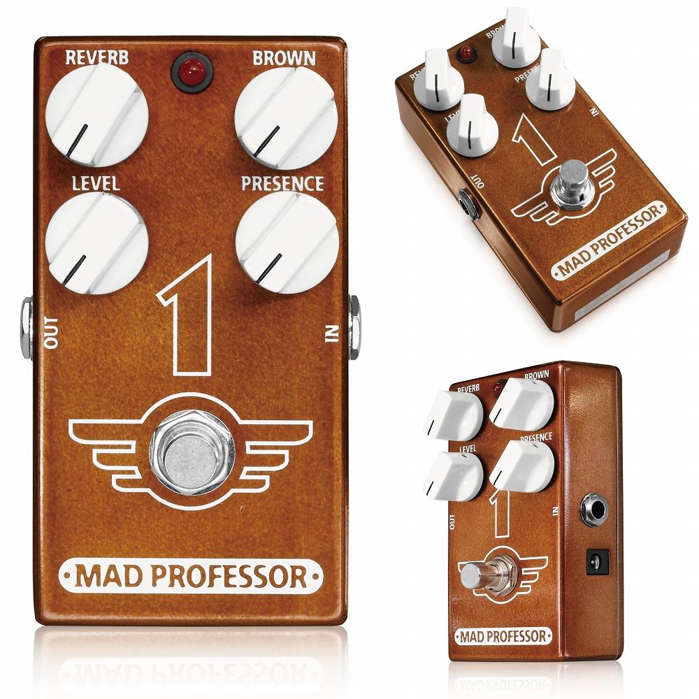 """Mad Professor / 1 マッドプロフェッサー / ワン Mad Professor """"1""""は、70年代後期~80年代初期にかけて、世界中に衝撃を与えた""""ブラウンサウンド""""をクリーンアンプで作るためのディストーションです。 あの伝説のトーンと同様Mad Professor 1は、強い歪みを作ることができます。 さらにリバーブ回路を内蔵し、音色にステージの熱い空間と奥行きを追加することができます。 Mad Professor """"1""""は、ミディアム~ヘヴィゲインのディストーションを作ることができます。ゲインレベルはギターのヴォリュームノブで簡単にコントロールできます。 特に""""1""""はギターから直接接続されることを想定したインプットインピーダンスに設定され、直接接続することで最もダイレクトかつリアルなトーンを得ることができます。 """"1""""ならではのBrownコントロールノブは、歪みの強さと共にディストーションの倍音成分の強さを調整します。伝説のトーンのキーとなるコントロールです。さらにPresenceコントロールノブを組み合わせることで、様々なピックアップやアンプでも""""あの音""""を作り出します。 """"1""""にはリバーブ回路も搭載しています。Reverbコントロールノブでリバーブの強さを調整できます。70年代のクラシックなレコーディングで用いられたスタジオリバーブをシミュレートし、絶妙に音色に奥行きを加える事でプレイを邪魔することなくかつてのフィーリングを楽しむことが出来ます。 実際のレコーディングで使用されているリバーブエフェクトをイメージするセッティングだけでなく、数々の伝説を生み出したステージでのトーンをイメージさせる音色を作ることもできます。 リバーブエフェクトは内部トリムポットを組み合わせ、詳細な調整も可能です。 ●コントロール VOLUME:全体の音量を調整します。 Brown:歪みの強さと倍音成分を調整します。 Presence:多くのアンプのPresenceコントロールと同等の帯域をコントロールします。 Reverb:リバーブレベルを調整します。 ・内部トリムポット Time:リバーブのディケイタイムを調整します。 Tone:リバーブの暖かさ、音色の明るさを調整します。 ●スペシフィケーション ・電源:8~12VDC ・消費電流:82mA @9VDC ・インプットインピーダンス:200K ・アウトプットインピーダンス:25K ・トゥルーバイパス 駆動にはセンターマイナス9VDCアダプター、または9V電池をご使用ください。"""
