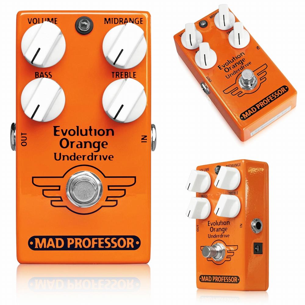 """Mad Professor / Evolution Orange Underdrive マッドプロフェッサー / エヴォリューションオレンジアンダードライブ Mad Professor Evolution Orange Underdrive (EOU) は、ギタートーンに対する新たなアプローチです。 クリーントーンを歪ませる""""オーバードライブ""""ではなく、お気に入りのオーバードライブトーンをクリーントーンへと変える""""アンダードライブ""""です。 Evolution Orange Underdriveは、ヴィンテージスタイルのシングルチャンネルアンプとの組み合わせにも最適です。 アンプで作った歪みに影響をあたえること無く、フットスイッチだけで即座に豊かで上質なクリーントーンが得られます。 例えば、ヴィンテージチューブアンプで歪みを作り、ギターのヴォリュームを下げてクリーンに戻すと、そのクリーントーンはどうしても暗くなってしまいます。それを対策しようとスムーステーパーにすると、今度は音が変わってしまうこともあります。 歪みは最高なのに、クリーンが少し物足りない。EOUなら、そんな悩みを抱える必要はありません。 EOUは、VolumeとTreble、Midrange、Bassの4つのノブを使い、自在にクリーントーンを調整できます。例えばMidrangeを低く設定すれば、オーバードライブの歪み成分がほとんど消え、豊かなクリーントーンが復活します。 レスポンスの高いアンプなら、Volumeを下げて入力レベルによるクリッピングを避け、TrebleとBassを調整することで必要なクリーントーンが得られます。 逆にVolumeとMidrangeを高く設定すれば、ミッドレンジをブーストすることでアンプや後段の歪みエフェクトのサウンドに影響し、フットスイッチで歪みのトーンを変えるような使い方も可能です。 常時ONにして基本のクリーンを作るプリアンプとして、新たな3バンドイコライザーやブースターとして使うことの出来る、新しい発想のエフェクトです。 ●使い方 EOUを歪んだアンプやペダルの前段に接続します。まず、Volumeを12時、Midrangeを9時あたりに設定し、BassとTrebleで音色を整えてください。 その後、VolumeとMidrangeを改めて設定してみてください。 ※EOUは、完全なクリーンを作るためのペダルではありません。後段に接続されたペダルやアンプのゲインが高い場合、完全なクリーンまでは戻らず、歪みが緩和/低減される程度までの設定となる場合もあります。 しかし、単にギターのヴォリュームを下げた場合とは違い、ギターサウンドのパンチやブリリアンスを損ねること無く、また単にヴォリュームを下げた場合よりも大きな音量で同等のゲイン設定が得られるようになります。 ●コントロール Midrange:±15dB at 400Hz Treble:±15dB at 7kHz Bass:±15dB at 100Hz Volume:全体の音量を調整します。基本的に最大でユニティゲインとなります。 ●ELECTRICAL SPECIFICATION Input Impedance approx.500K Output Impedance approx.5K Current Draw @9V 10mA Voltage Supply Range +8V to +18V DC EOUは9~18Vアダプター、または9V電池で駆動します。"""