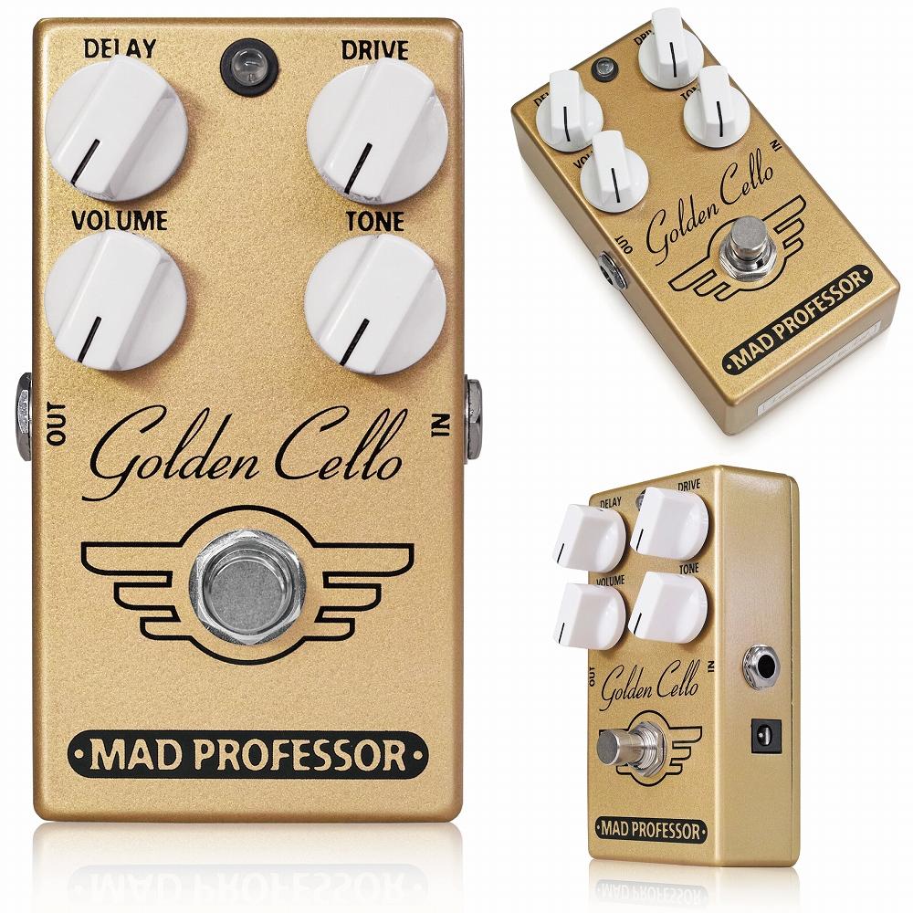 Mad Professor / Golden Cello マッドプロフェッサー / ゴールデンチェロ 世界中のギタリストが求め、必要とするトーン。 Mad Professor Golden Celloは、通常は複数の機材を組み合わせて作られるトーンをまとめたユニークなペダルです。 どれほど極上のオーバードライブペダルであっても、それだけで音を作ろうとしても足りないことがあります。そして、そこにギタリストが求めるもの、それが空間的な広がりです。 Golden Celloは美しく歌い上げるオーバードライブトーンに、ハイクオリティでテープエコーライクなディレイエフェクトを組み合わせました。もちろんオーバードライブとディレイエフェクトは完全にチューニングされ、主役のオーバードライブを空間的に広げるためのディレイエフェクトというバランスで設定されています。 このペダル1つで、ゲインレンジが広くハイレスポンスで扱いやすい、Mad Professorらしいオーバードライブトーンと、そのサウンドに立体感を与えるためだけに作られた贅沢なディレイエフェクトが手に入ります。 オーバードライブを引き立てるためだけに新たなディレイペダルを導入する必要もありませんし、そのセッティングにかける時間も必要ありません。 Golden Celloをクリーンアンプにプラグインすれば、そこには極彩色に溢れたリードトーンが広がります。ペダルボードにはコンパクトペダル1台分のスペースがあれば十分です。 ディレイエフェクトは完全にカットすることも可能で、ディレイタイムやフィードバックは内部トリムポットでコントロールできます。 ●コントロール Volume:オーバードライブ、ディレイを含めた全体のアウトプットレベルを調整します。 Tone:トレブルを中心に音色をコントロールします。音をソフトにしたりシャープにすることができます。 Distortion:歪みの強さとサステインの長さをコントロールします。軽いクランチからハードな飽和感を持つオーバードライブまで、広いゲインレンジを設定できます。 Delay:オーバードライブにかかるディレイエフェクトのレベルをコントロールします。 ・ペダル内部にはrepeat、length、volumeトリムポットがあります。これらはディレイエフェクトのフィードバック、ディレイタイム、ディレイレベルを微調整します。 Electrical Specifications: Current draw @9VD:V 43mA Input impedance: 70K Ohms Output impedance: 50K 0hms Supply voltage: 9-12VDC Complete true bypass and input of circuit grounded in bypass Golden CelloはDC9~12V、センターマイナス2.1mmプラグのアダプター、または9V電池で駆動します。 内部トリムポットの操作は精密ドライバーを使用し、慎重に行って下さい。