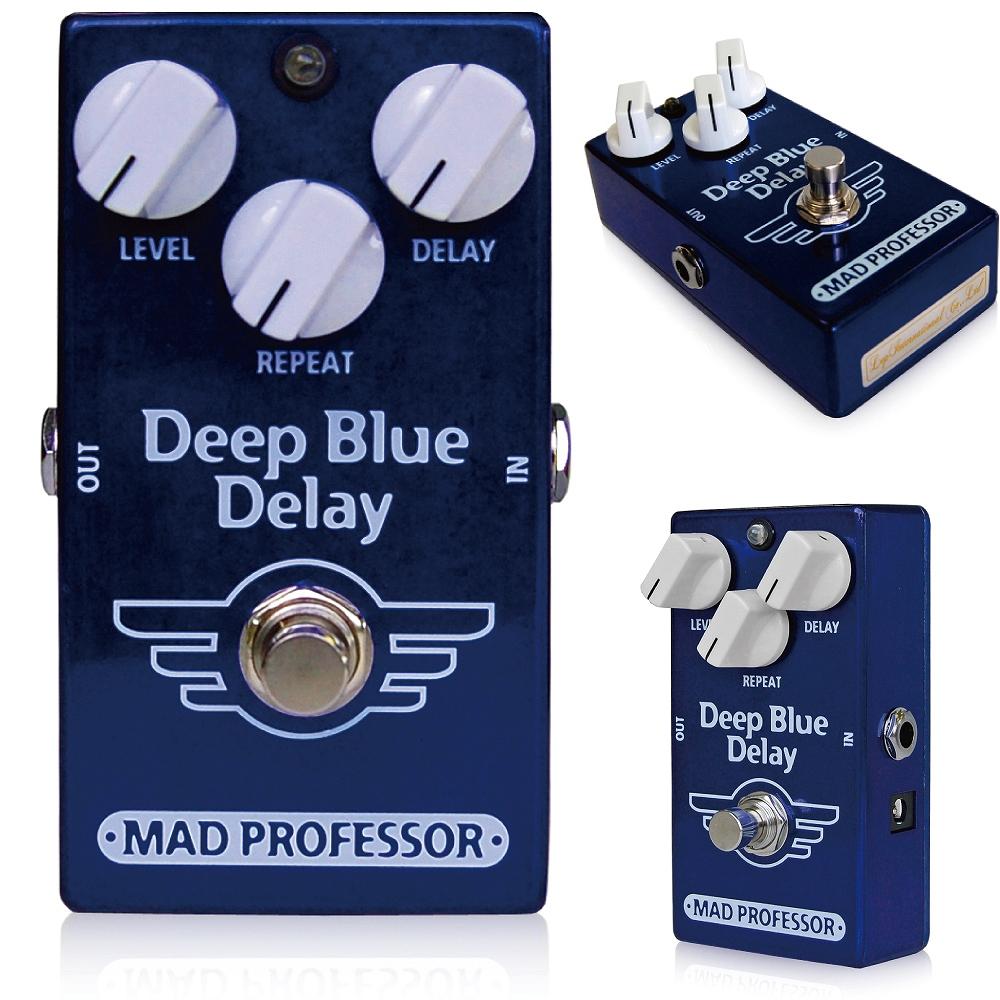 """Mad Professor / New Deep Blue Delay マッドプロフェッサー / ニューディープブルーディレイ ディープブルーディレイは非常にナチュラルなサウンドをもつデジタル/アナログディレイです。このディープブルーディレイはクラシカルなテープエコーユニットと同域のデプスを持ち、さらにアンプの前に、またアンプのLOOPにも 使えるように最適化されています。 このディレイはノイズリダクションは搭載されておりません。これにより非常にナチュラルなディレイサウンドを表現することに成功しました。 ドライのサウンドは限りなく短い回路で設計されており、なにひとつつフィルタリングされておりません。 すべてのつまみを前回にしても音が歪むことなく非常に美しいディレイサウンドが出せるのが特徴です。 エコーサウンドはあらゆる極端なセッティングにも干渉なしにフィットするよう設計されています。 ●オリジナルDeep Blue Delayとの違い オリジナルDeep Blue DelayとNew Deep Blue Delayは、多少ながら違いがあります。 ■筐体 ずっしりと重いオリジナルDeep Blue Delayは亜鉛ダイキャスト筐体を採用していますが、New Deep Blue Delayはアルミダイキャストボディを採用し、軽量に作られています。 ■ジャック・スイッチ類 New Deep Blue Delayでは、生産性向上のため、インプット/アウトプットジャック、アダプタージャック、フットスイッチ等を全て基板に直接配置して製作されています。 そのため、インプット/アウトプット/アダプタージャック、フットスイッチが変更されています。 ■サウンド オリジナルDeep Blue Delayのサウンドを踏襲していますが、パーツの違いによりほんの少し、違いはございます。  このペダルは さまざまなディレイペダルが深刻な音となってしまう 歪みサウンドなどで最高の威力を発揮できるようBJFがデザインしました。 このディレイはこれらの機能を持ちながらもこの小さいケースに詰め込むことに成功しました。 (Width x Length x Height :69mm x 111mm x 50mm including jacks and knobs) あなたはアンビエンスなディレイサウンド、ビンテージテープエコー、さらには自己発振などもいともたやすく作り出せるように設定されています。 Current consumption: 25 to 32 mA depending on delay setting Voltage range: 8V to 15V (below 7,5 V delay signal will be muted) Input impedance IZ: 180K Ohm's Output drive capability: 10K Ohms Maximum input voltage: 2V peak 650mV rms Signal to noise ratio: 80dB Delay time: approximately 25mS to 450mS Power requirement: supplied via 2,1 mm standard jack Input and output connections: via 1/4"""" Switchcraft Complete bypass and input of circuit: grounded when in bypass"""
