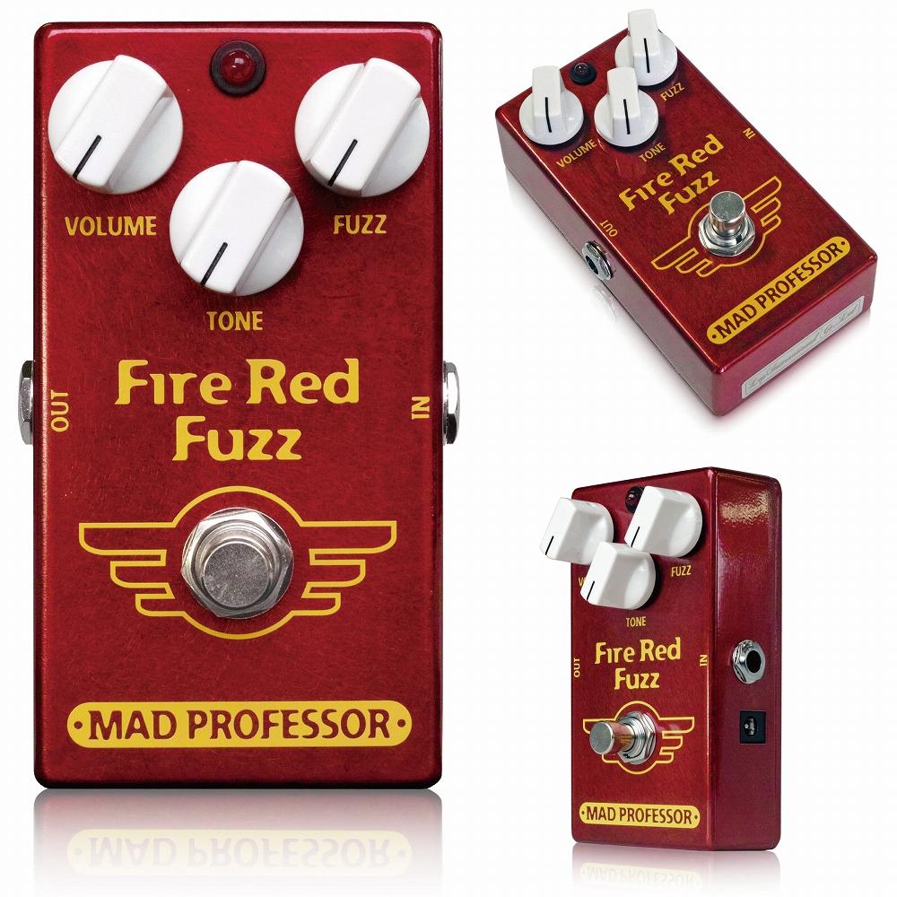 Mad Professor / New Fire Red Fuzz マッドプロフェッサー / ニューファイアレッドファズ ●オリジナルFire Red Fuzzとの違い オリジナルFire Red FuzzとNew Fire Red Fuzzは、多少ながら違いがあります。 ■筐体 ずっしりと重いオリジナルFire Red Fuzzは亜鉛ダイキャスト筐体を採用していますが、New Fire Red Fuzzはアルミダイキャストボディを採用し、軽量に作られています。 ■ジャック・スイッチ類 New Fire Red Fuzz では、生産性向上のため、インプット/アウトプットジャック、アダプタージャック、フットスイッチ 等を全て基板に直接配置して製作されています。 そのため、インプット/アウトプット/アダプタージャック、フットスイッチが変更されています。 ■サウンド ハンドワイヤードのオリジナルFire Red FuzzとNew Fire Red Fuzzは、非常に似通ったサウンドです。 ですが、2台を直接比較すると、オリジナルFire Red Fuzzの方がよりクラシカルなファズに近い、ざらっとした雰囲気の歪みなのに対し、New Fire Red Fuzzはより扱いやすい、少しモダンよりな音色という違いがあります。 レスポンスやゲインなどはほぼ同等です。 FIRE RED FUZZは簡単な操作で圧倒的なロングサステインとたくさんのトーンバリエーションをもつ新世代FUZZペダルです。 サウンドは適度なコンプレッション感と、全てのフレットで同じサステインが同居するすばらしいFUZZサウンドを誇っています。 特にデザインされたトーンコントロールにより、ウォーミーなメロウファズサウンドから、MIDを大胆に削った明るいブライトなFUZZまで簡単に作り出せます。 FIRE RED FUZZはクラシックファズのバリエーションではなく、非常に多彩なトーンをもった独特なファズペダルです。 粘りけのあるダークなファズトーンから、カッティングにも使えるようなブライトなトーンまでの幅広さは、ライブにおいてはもちろん、特にレコーディング環境においてトラックを分けたりして使うことでも効果を発揮します。 電源はDC9Vセンターマイナスアダプター(One Control EPA-2000を推奨します)または9V電池で動作します。 Electrical specifications Supply voltage range: 7,5 to 18VDC Current consumption at 9VDC: 2,5 mA Input inpedance: 56K Ohm's Output impedance: 50K Ohm's Complete bypass (true bypass) 種類:ファズ(ギター用) アダプター:9Vセンターマイナス 電池駆動:9V電池 コントロール:VOLUME、TONE、FUZZ