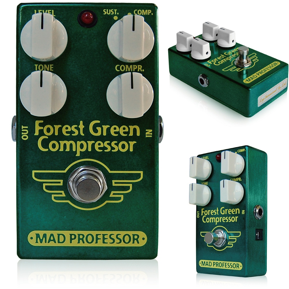 Mad Professor / New Forest Green Compressor マッドプロフェッサー / ニューフォレストグリーンコンプレッサー ノイズを極限まで減らし、歪みは最小まで抑える。 きわめてシンプルな目標のために何百回とテストを 重ねあげて、遂に満足のいくコンプが出来上がりました。 そのサウンドは自然、ナチュラル、ウォームという言葉よりも、透明、ピュア、という言葉のほうが当てはまります。 さらに、ロータリータイプの2モード切替スイッチにより、コンプモード、サステインモードに切り替えることができ、サステインモードでは非常に透明感のあるロングサステインサウンドを実現することができます。その操作性は二台の高級コンプを足元に置いているかのごとくあなたのサウンドを強力にサポートします。 このペダルは シンプルに、ギターの持つ透明なトーンを十分に引き出すために開発されました。 このコンプレッサーはこれらの機能を持ちながらもこの小さいケースに詰め込むことに成功しました。 ●オリジナルForest Green Compressorとの違い オリジナルForest Green CompressorとNew Forest Green Compressorには、多少ながら違いがあります。 ■筐体 ずっしりと重いオリジナルForest Green Compressorは亜鉛ダイキャスト筐体を採用していますが、New Forest Green Compressorはアルミダイキャストボディを採用し、軽量に作られています。 ■コントロールノブ 搭載されるコントロールに違いはありませんが、配置が変更され、トグルスイッチだったオリジナルForest Green Compressorに対してNew Forest Green Compressorはロータリースイッチとなっています。 また、オリジナルモデルに比べ、幅広いトーンコントロールを搭載しています。 ■ジャック・スイッチ類 New Forest Green Compressorでは、生産性向上のため、インプット/アウトプットジャック、アダプタージャック、フットスイッチ等を全て基板に直接配置して製作されています。 そのため、インプット/アウトプット/アダプタージャック、フットスイッチが変更されています。 ■サウンド オリジナルForest Green Compressorのサウンドを踏襲していますが、パーツの違いによりほんの少し、違いはございます。