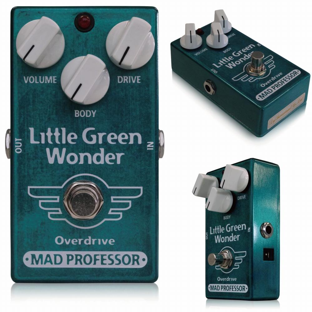 """Mad Professor / New Little Green Wonder    マッドプロフェッサー / ニューリトルグリーンワンダー   「スタックアンプが奏でるオーバードライブサウンド」を再現した、オリジナルMad Professor Little Green Wonder。 このNew Little Green Wonderは、オリジナルLittle Green Wonderのサウンドを完全に受け継ぎながら、内部基板、ジャック、ポット等の構造を見直したことでよりお求めやすいモデルとして誕生しました。  ●オリジナル Little Green Wonder との違い オリジナルLittle Green WonderとNew Little Green Wonderは、多少ながら違いがあります。 ■筐体 ずっしりと重いオリジナルLittle Green Wonderは亜鉛ダイキャスト筐体を採用していますが、New Little Green Wonderはアルミダイキャストボディを採用し、軽量に作られています。 ■ジャック・スイッチ類 New Little Green Wonder では、生産性向上のため、インプット/アウトプットジャック、アダプタージャック、フットスイッチ 等を全て基板に直接配置して製作されています。 そのため、インプット/アウトプット/アダプタージャック、フットスイッチが変更されています。 ■サウンド ローミッドが非常に強くプッシュされ、張りのあるサウンドが特徴のLittle Green Wonderですが、New Little Green Wonderはオリジナルモデルよりも若干マイルドな味付けがなされており、やわらかでスムーズな歪みです。 もちろん、Little Green Wonderとしての基本的な特性はそのまま受け継いでいます。 コンプレッションを抑え、高いヘッドルームの確保による抜群の反応性、音色のクリアさは健在。 「Little Green Wonderのカラー」が強く出るオリジナルモデルとはまた違い、New Little Green Wonderは扱いやすく幅広いギターやアンプに対応できるもう一つの完成形です。      コンプレッション感を抑え、高いヘッドルームを持ち、高出力にも対応したオーバードライブです。ローミッドを中心に、高域まで全ての周波数レンジの音を調整する「BODY」ノブを搭載しました。  Little Green Wonderはスタックアンプが奏でるオーバードライブのサウンドを目指して設計されたオーバードライブで、ペダルセッティングのどこにおいてもその力を十分に発揮できることでしょう。  これまでのペダルはアンプとの相性などを考えて使わなければなりませんでしたが、このペダルはどんなアンプとも絶妙にマッチすることができます。  Little Green Wonderは単体使用においても、まるで音の壁を作るような分厚いサウンドを作りだします。このようなタイプのペダルは、一般的にはハムバッカーと組み合わせるとあまり満足のいく音を作ることは出来ませんでしたが、このペダルは低域をロスすることなく、分離感のいいサウンドを作り出すことが出来ます。  BODYコントロールは、センターポジションで中域が強調されますが、右に回せばトレブルブースターのようなサウンドも作ることが出来ます。左に回せばローミッドを強調し、スムーズなタイプの歪みを導き出します。 Little Green Wonderは、軽く歪ませたアンプをプッシュすることはもちろん、ファズとアンプの相性を調整するフィルターとして、そして正統派オーバードライブとして使うことができるペダルです。  BJFによる注釈 """"LGWはいわゆるTSスタイルのペダル、という括りに入ると思います。しかし、ほかのTS系ペダルとはまったく違った音、魅力を持っています。 大きな違いのひとつで思いつくのは、追い求めているサウンドの方向があげられると思います。われわれの作り上げたLGWはマーシャルアンプで作り上げるよりナチュラルなサウンドを作り上げることを念頭に置き作り上げました。ぜひみなさんも本当のサウンドを体感してみてください。""""  Electrical specifications  Z in at 1kHz: app. 500K Pout 1kHz in 50k: app. 0uW70 RMS Max load: app. 10K Max output: 3V peak Max current consumption: 5mA5 at 10V Upper freq. -3dB: app. 10KHz Max gain at 1KHz: app. 58 """