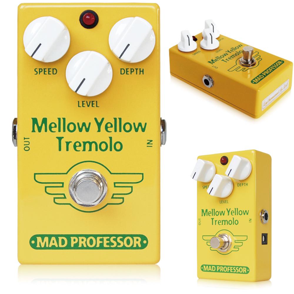 Mad Professor / New Mellow Yellow Tremolo マッドプロフェッサー / ニューメローイエロートレモロ Mad Professor Mellow Yellow Tremolo(MYT)は、さまざまなジャンルの音楽に多用された50 年代を代表するソフトスイングタイプトレモロを踏襲し、非常になだらかな波形が特徴のトレモロです。 フィルターの強さは、草創期のアンプのように、対照的で非常にここちよいモジュレーションを供給します。 これにより、より音楽性の高いトレモロサウンドをクリーンサウンド、ディストーションサウンドのどちらのギターサウンドにもマッチさせることに成功しました。 さらに、MYTはLEVELコントロールを持ち、若干のブーストにより、よりパワフルなトレモロサウンドを味わうこともできます。 電源はDC9Vセンターマイナスアダプター(EPA-2000を推奨します)または9V電池で動作します。 ●オリジナルMellow Yellow Tremoloとの違い オリジナルMellow Yellow TremoloとNew Mellow Yellow Tremoloは、多少ながら違いがあります。 ■筐体 ずっしりと重いオリジナルMellow Yellow Tremoloは亜鉛ダイキャスト筐体を採用していますが、New Mellow Yellow Tremoloはアルミダイキャストボディを採用し、軽量に作られています。 ■ジャック・スイッチ類 New Mellow Yellow Tremoloでは、生産性向上のため、インプット/アウトプットジャック、アダプタージャック、フットスイッチ等を全て基板に直接配置して製作されています。 そのため、インプット/アウトプット/アダプタージャック、フットスイッチが変更されています。 ■サウンド オリジナルMellow Yellow Tremoloのサウンドを踏襲していますが、パーツの違いによりほんの少し、違いはございます。 Electrical specifications: Supply voltage range: 7,5 to 15VDC Current consumption at 9VDC: 5,5 mA Input inpedance: 340K Ohm's Output impedance: 1K Ohm's Complete bypass (true bypass) 種類:トレモロ(ギター用) アダプター:9Vセンターマイナス 電池駆動:9V電池 コントロール:SPEED、DEPTH、LEVEL