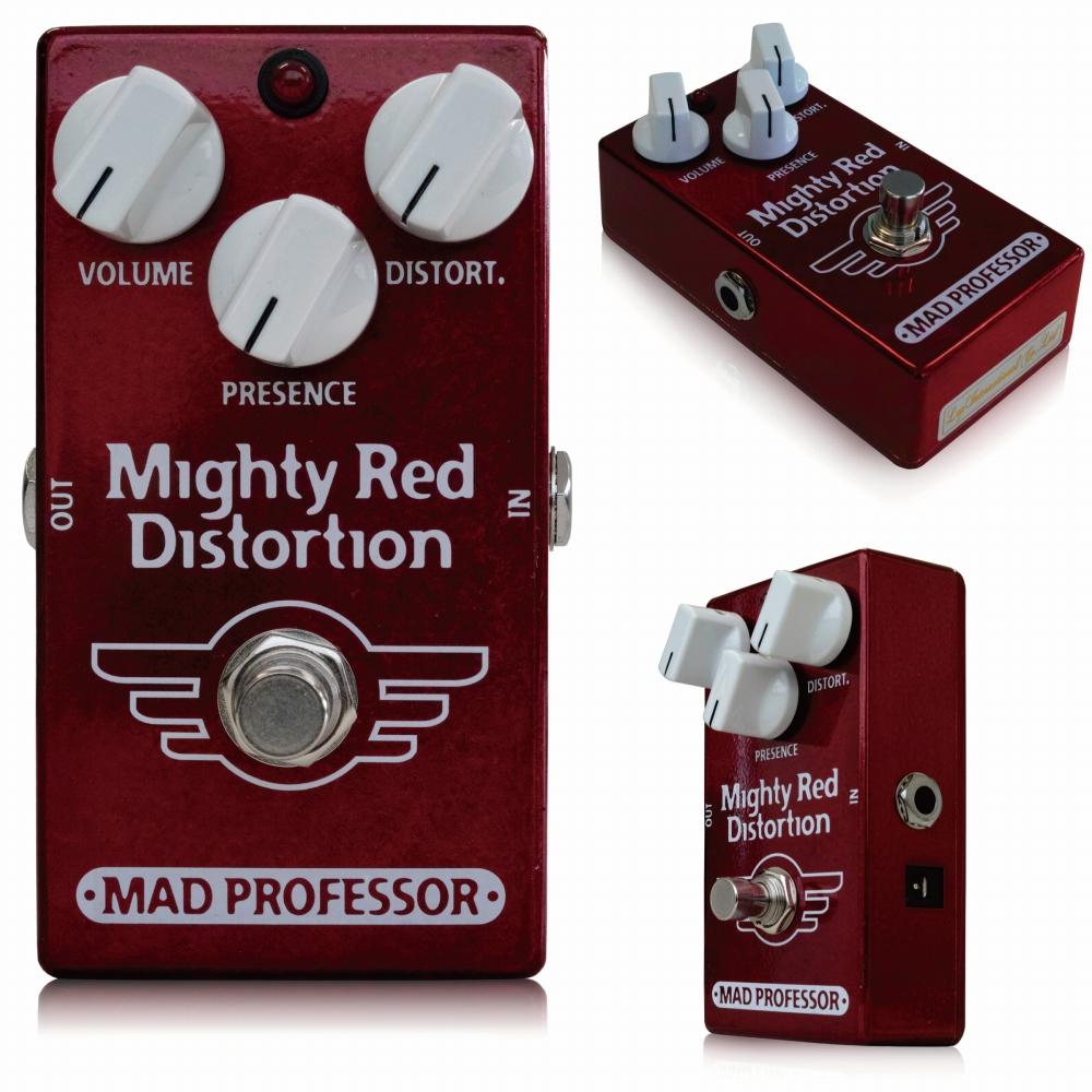 Mad Professor / New Mighty Red Distortion マッドプロフェッサー / ニューマイティレッドディストーション Mighty Redは、80年代後半のコンプレッションのかかった歪みスタイルを忠実に再現したハイゲインディストーションペダルです。 操作方法は非常にシンプルで簡潔、それでいて透明感のある 美しい歪サウンドからハイゲインディストーションサウンドまでをカバーできます。 幅広い周波数レンジを持ち、他のペダルと組み合わせての相性も抜群です。特にLittle Green Wonderのようなオーバードライブは、Mighty Redのプリゲインペダルとして使えば、よりピントを中心にあわせたサウンドを作り出すこともできます。 このペダルを設計するのにノイズサスプレッサーやエキスパンダー は入れてありません。その代わりに、私たちが開発した特殊な、アンプの動作をそのまま再現させることができる技術と、低雑音増幅技術によって、ここちよいサステインと、高電流消費 (7.5Vから18Vまで対応可能)により、歪みのレベルを帰ることもできます。 80年代サ ウンドのペダルは誰もが待ち望んでいたものですが、ノイズや汎用性の問題もあり、なかなかペダルボードに入れられるものではありませんでした。プレゼンス はアッパートレブルを加える回路になっていますのでミッドレンジにはなんの加工もせずにダイレクトにMIDの効いたウォームな歪みサウンドが奏でられま す。。 コントロール ボリューム 音量の調整 ディストーション 歪み量の設定 プレゼンス アッパートレブルのコントロール。ミッドレンジの音質を変えることなくTONEを加えることができます。 Electrical specifications Supply voltage range: 7,5 to 18VDC Current consumption at 9VDC: 10,6 mA Max gain: 62dB Max output: 1V pk-pk or 500mV rms Signal/Noise ratio: approximately 96dB   ●オリジナルMighty Redとの違い オリジナルMighty RedとNew Mighty Redには、多少ながら違いがあります。 ■筐体 ずっしりと重いオリジナルMighty Redは亜鉛ダイキャスト筐体を採用していますが、New Mighty Redはアルミダイキャストボディを採用し、軽量に作られています。 ■ジャック・スイッチ類 New Mighty Redでは、生産性向上のため、インプット/アウトプットジャック、アダプタージャック、フットスイッチ等を全て基板に直接配置して製作されています。 そのため、インプット/アウトプット/アダプタージャック、フットスイッチが変更されています。 ■サウンド オリジナルMighty Redのサウンドを踏襲していますが、パーツの違いによりほんの少し、違いはございます。また、New Mighty RedはオリジナルMighty Redよりも大きなヴォリュームのサウンドを作り出すことができます。 種類:ディストーション(ギター用) アダプター:9Vセンターマイナス 電池駆動:9V電池 コントロール:VOLUME、PRESENCE、DISTORT.