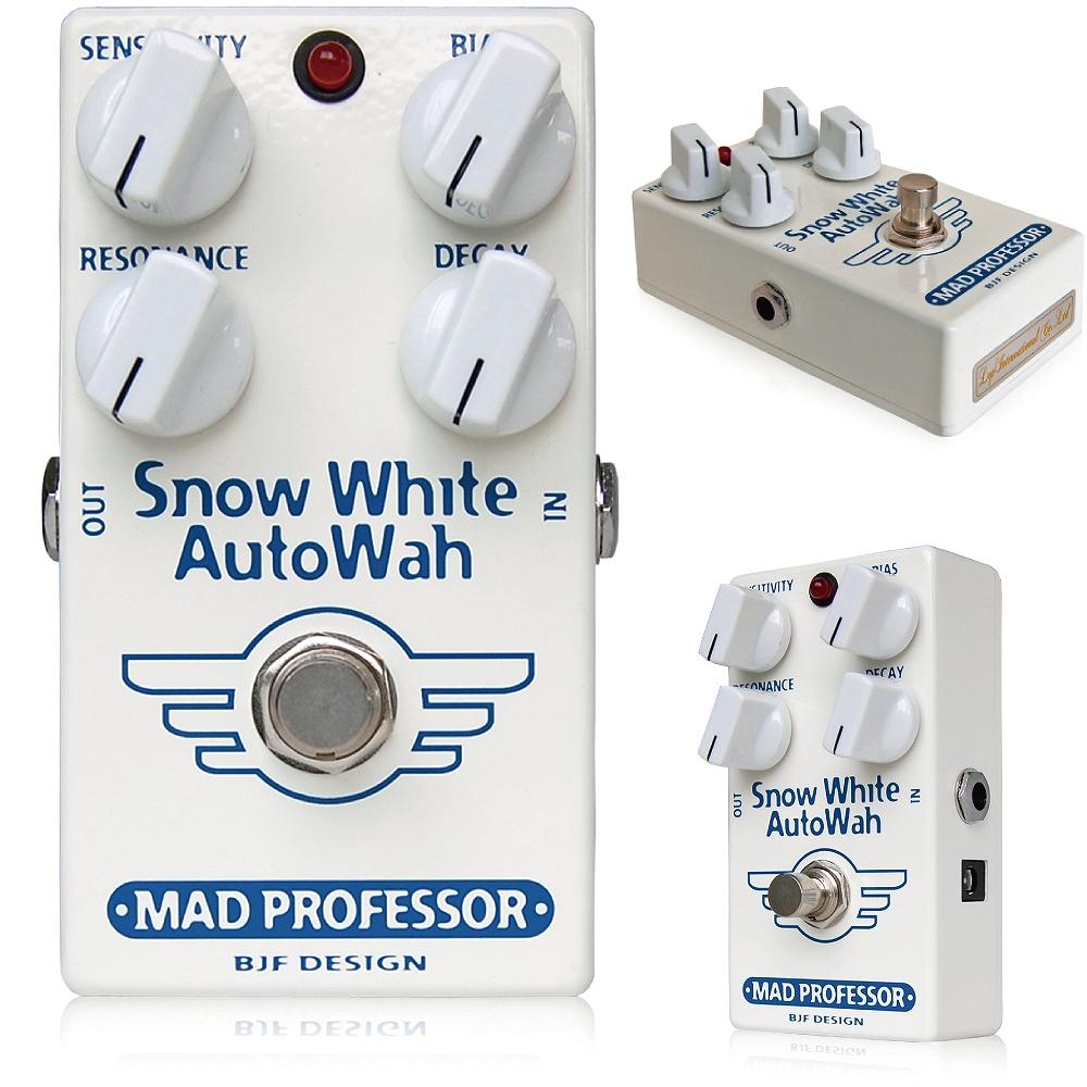 Mad Professor / New Snow White Auto Wah マッドプロフェッサー / ニュースノウホワイトオートワウ BJFがデザインしたフィンランド製エフェクター!このスノーホワイトオートワウ(SWAW)は、1981年にBJFが設計したラックマウントタイプの リモートワウの回路を基に設計されています。そのサウンドはまさしくワウそのもので 音だけではにわかにオートワウのサウンドだとは聴き分けられないでしょう。 非常に精度の高いトラックシステムを採用し、さらに4つのノブであなたが望むワウサウンドを 完全に掌握することができます。 このペダルのDECAYコントロールは今までは無かった発想のノブになります。 これにより、自由にFREQフィルターの落下速度をコントロールすることができます。 つまり、ピッキングはまったく変えずに曲調に合わせて自由に速度をコントロールすることが できます。 <仕様> 電源:DC9Vセンターマイナスアダプタ(One Control EPA-2000を推奨します。)またはDC9V電池に対応しています。 消費電流:15mA インプットインピーダンス:500K アウトプットインピーダンス:1K トゥルーバイパス仕様 ●オリジナルSnow White Auto Wahとの違い オリジナルSnow White Auto WahとNew Snow White Auto Wahは、多少ながら違いがあります。 ■筐体 ずっしりと重いオリジナルSnow White Auto Wahは亜鉛ダイキャスト筐体を採用していますが、New Snow White Auto Wahはアルミダイキャストボディを採用し、軽量に作られています。 ■ジャック・スイッチ類 New Snow White Auto Wahでは、生産性向上のため、インプット/アウトプットジャック、アダプタージャック、フットスイッチ等を全て基板に直接配置して製作されています。 そのため、インプット/アウトプット/アダプタージャック、フットスイッチが変更されています。 ■サウンド オリジナルSnow White Auto Wahのサウンドを踏襲していますが、パーツの違いによりほんの少し、違いはございます。 種類:オートワウ(ギター用) アダプター:9Vセンターマイナス 電池駆動:9V電池 コントロール:SENSITIVITY、BIAS、RESONANCE、DECAY