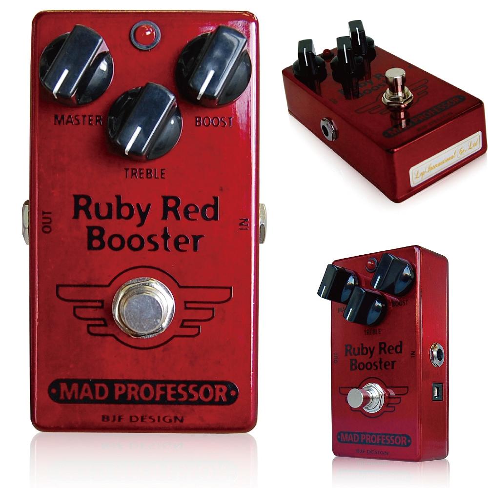 Mad Professor / Ruby Red Booster マッドプロフェッサー /ルビーレッドブースター 多彩な使用法! Mad Professor Ruby Red Boosterは、3種類のブースターを組み合わせ、さらに上質のバッファアンプとして使うことの出来るブーストペダルです。 「BJF Little Red Trebler」「BJF Red Rooster Booster」「Baby Pink Booster」をベースとし、それらを組み合わせて制作されており、さらにマスターヴォリュームを追加することで、様々なスタイルに合わせてお使いいただけるモデルとなりました。 Ruby Red Boosterはトレブルブースターやクリーンブースターとしてはもちろん、オーバードライブユニットとしても使用可能です。 ペダルにはハイクオリティなバッファアンプが組み込まれており、内部に搭載されたスイッチでバイパス時のバッファのON/OFFを切り替えることができます。 Trebleノブは、ただハイを強調するだけの単純なものではなく、ギターの持つ周波数特性に合わせ、最適なサウンドを得ることが出来るよう、増幅する周波数域と低域のバランスを注意深く調整しています。 Ruby Red Boosterは、最大+40dBまでの高い増幅量を実現し、アンプのインプットに接続した時に煌びやかなクランチサウンドからヘヴィなオーバードライブサウンドまでを作り出せるよう設計されています。 Boostノブを右に回してゆき、高いブーストセッティングにすると、Ruby Red Boosterは非常に音楽的な歪みを作り出し、オーバードライブユニットしてお使いいただけます。 Masterコントロールを使うことで、TrebleとBoostノブで設定されたブーストサウンドの音量を調整することができます。 コントロール MASTER:ブースト回路の後に設置されたヴォリュームコントロールで、全体的な音量の設定を行います。 TREBLE:トレブルブーストの増幅量を調整します。0~15db程度の増幅が可能です。トレブルブーストが増幅する周波数帯は、ギターの音色特性に合わせて調整されています。 BOOST:最大約40dbまでの増幅ができるブースターの増幅量を調整します。このコントロールは、高く設定することで歪みを作り出します。 BUFFER:ペダルの内部に高品質なバッファのON/OFFを切り替えるスイッチがあります。このスイッチでRuby Red Boosterのバイパスモードをトゥルーバイパスとバッファオンバイパスで切り替えます。 多数のエフェクターや長いケーブルをご使用の場合は、ギターシグナルの高域とゲインのロスを最小限に食い止めるため、バッファをONにされることを推奨します。 Mad Professor Ruby Red Boosterに搭載されているバッファは電圧的に等倍の増幅量となるよう調整されています。 また、バッファのアウトプットインピーダンスは一般的なギターピックアップの直流抵抗(DC Resistance)よりも若干小さい値となるよう設定されており、後段に接続されたエフェクターのロードインピーダンスと同等の値となります。インプットインピーダンスは500Kに設定され、これは一般的なギターピックアップのミディアムロードに合わせて作られています。 これにより、Ruby Red Boosterのバッファは、ギターのトーンとヴォリュームをナチュラルなまま保つことができます。 ※内部のバッファ切替スイッチは、Input側(デフォルト)でONとなっています。