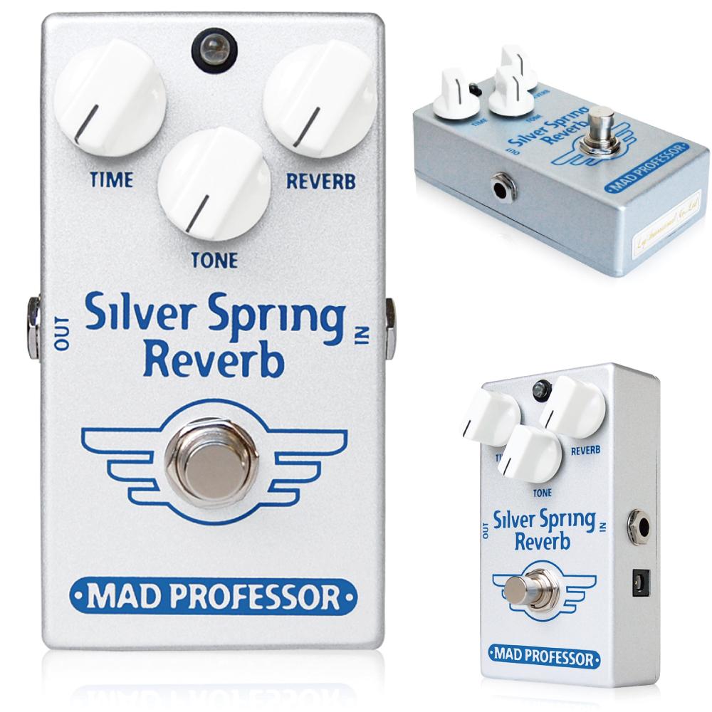 Mad Professor / Silver Spring Reverb マッドプロフェッサー / シルバースプリングリバーブ Silver Spring Reverb(SSR)は、コンパクトで大変使いやすいデジタル/アナログリバーブです。SSRではスプリングリバーブ特有のダークかつウォームなリバーブから、透きとおるようなスタジオリバーブまで、ナチュラルに辺りを包み込むようなリバーブを思い通りに作り出すことができます。 SSRにはノイズリダクションシステムは搭載されていません。これにより非常にナチュラルな減衰を実現します。原音は全てアナログ回路を通り、なにひとつフィルタリングされていません。すべてのコントロールをMAXに設定しても音が歪むことなく非常に美しいリバーブサウンドを作り出します。 電源はDC9Vセンターマイナスアダプター(EPA-2000を推奨します)または9V電池で動作します。 トゥルーバイパス仕様 Electrical specifications: Current consumption: 80mA@9V (DC adapter recommended) Voltage range: 6-9 V, 9 V 100mA preferred Input impedance: 500K Output drive capability: 10K Ohms Signal noise ratio: 90dB Complete true bypass and input of circuit grounded in bypass