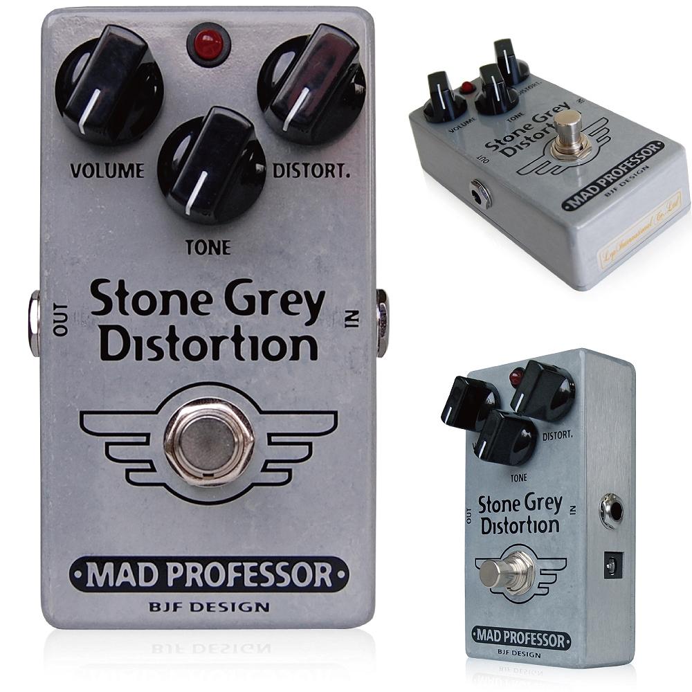 Mad Professor / Stone Grey Distortion マッドプロフェッサー /ストーングレイディストーション Mad Professor Stone Grey Distortionは、鮮明でクリアな音色が特徴の、モダンハイゲインディストーションペダルです。 このペダルは、ゲインを上げても音の分離が良く、明瞭な音色が得られるよう設計され、深く高いゲインに設定しても非常に鋭い歪みを実現しています。 ドロップチューニングや7弦ギターにも対応します。弦振動がそのまま伝わるような鮮明さを保ったまま、より高いゲインのサウンドを求めるモダンロックプレイヤーのために作られたペダルです。 コードを弾いても音が濁ってしまうことがなく、Stone Grey Distortionは構成音がはっきりと聞きとることができます。 また、ゲインを下げればStone Grey Distortionはオーバードライブのように使うことができます。 プレイヤーのタッチで音色をコントロールでき、Mad Professorの他のペダル同様の幅広いダイナミクスを実現しています。 ※Stone Grey Distortionは15Vまでの駆動電圧に対応しています。15Vを超える電圧のアダプターはお使いになれませんのでご注意下さい。