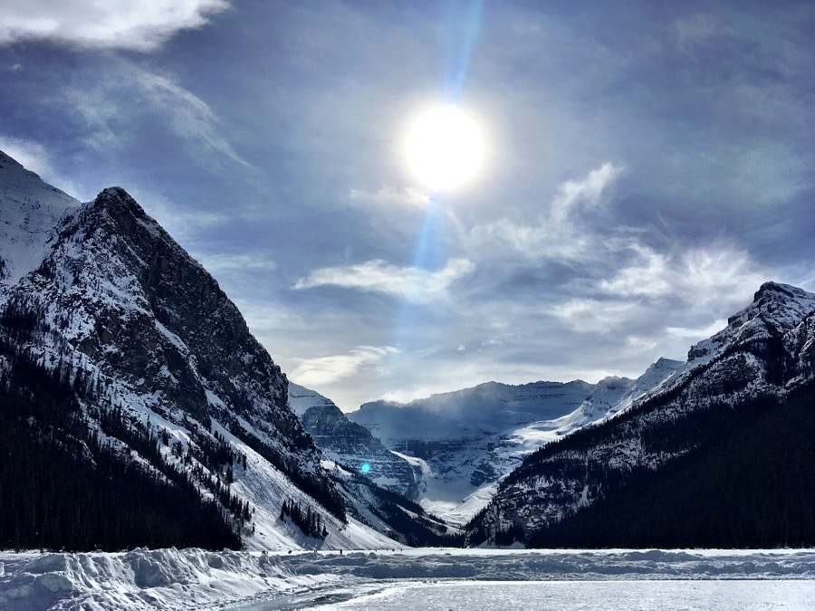 Lake Louise, frozen, close to sunset