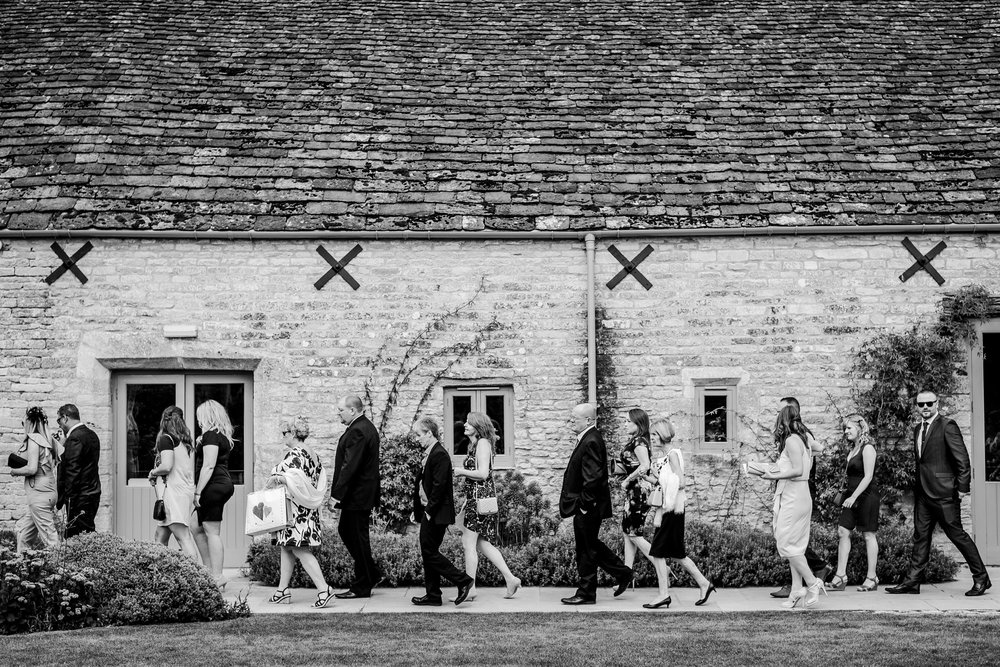Guests arriving for a wedding at Caswell House
