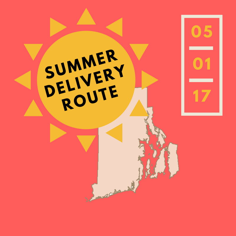 As of May 1st, we will be returning to our summer delivery schedule. Westerly - Wyoming and points south of Narragansett will be delivered on Tuesdays rather than Thursdays.  If you are located in those areas, your sales rep will now be reaching out to you on Mondays for an order rather than on Wednesdays.  In the event of an emergency later in the week, please let us know and we will do our best to send product your way if there's room in the van on a Thursday. We thank you for your business and wish everyone an amazing summer season.