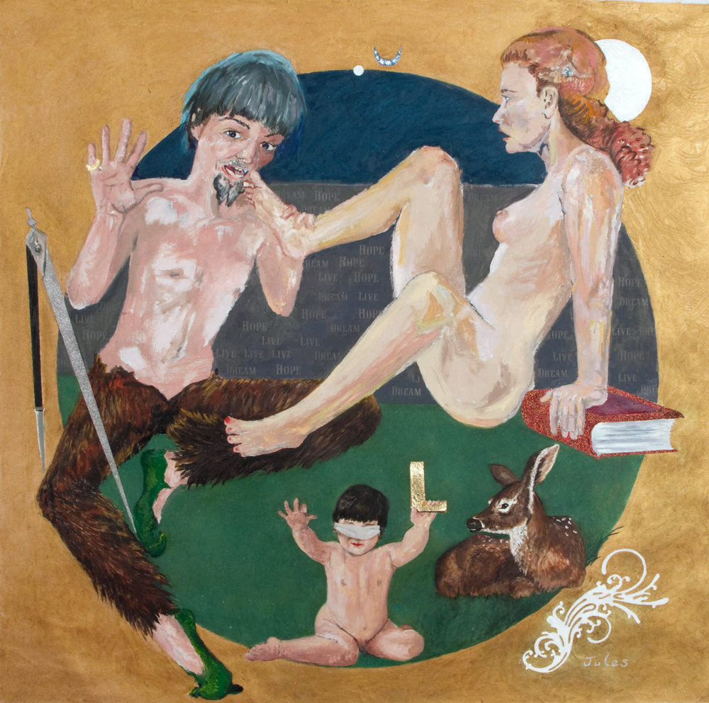So Moat it be...Satyr & Nymph 2013. Oil canvas, 50 x 48 inches Slowey copyright.jpg