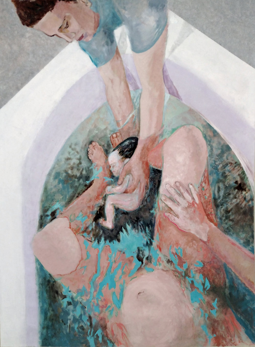 "Waterbirth, 2011   Oil on canvas  54"" x 39"""
