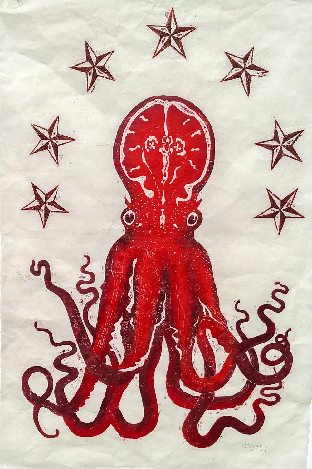 red octopus woodcut Slowey 2018 36 x 24 in.jpg