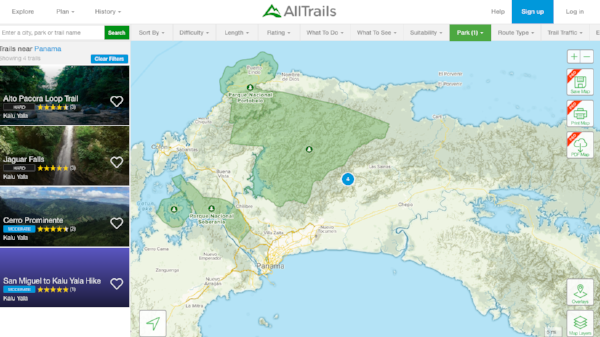 The AllTrails website showing hikes at Kalu Yala