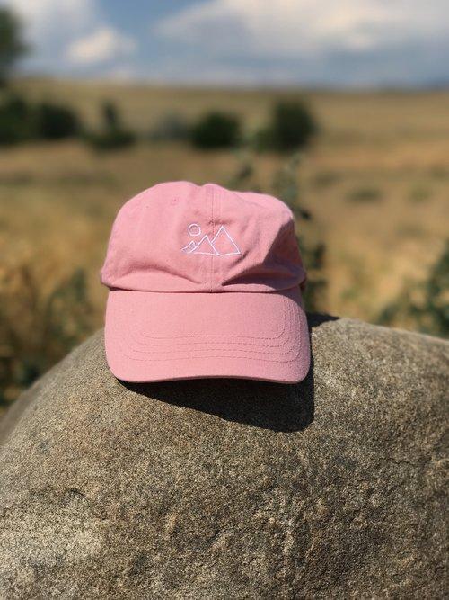 Pink Mountain Dad Hat — far wanderings 812fa9c12ee