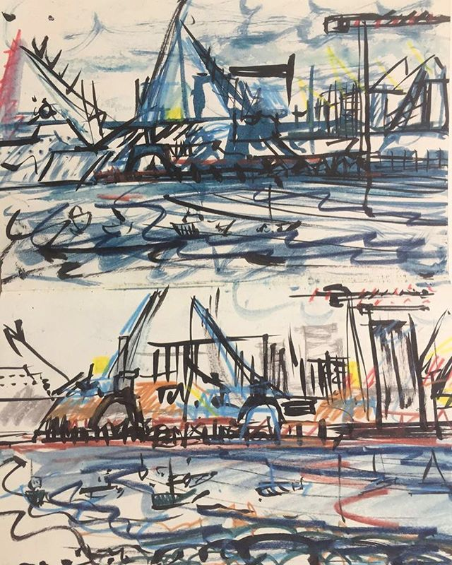 'Ile de Re' Sketchbook⠀ La Rochelle cranes⠀ #sketchbooks #IledeRe ⠀ .⠀ .⠀ .⠀ #art #artist #monoprint #abstract #abstractartist #colour #creative #fineart #gallery #paint 'instaart #creative #artwork #inspiration #artistoninstagram #artlovers #artnews #artoftheday #artreception #artgallery #artstudio #artinfo #contemporaryart #drawing #design #artistsofinstagram