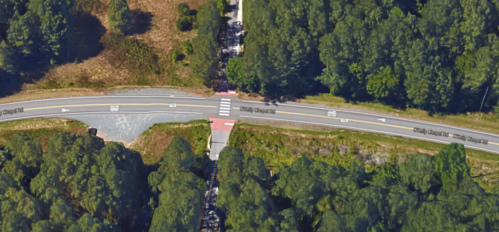 3-D rendering of O'Kelly Chapel Road intersection with American Tobacco Trail