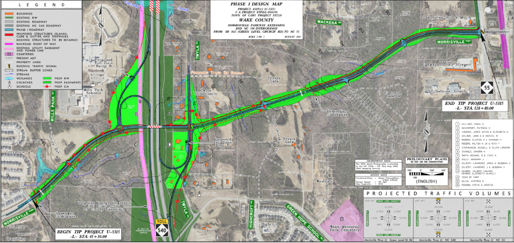 Design Drawing for Future Morrisville Parkway Extension and NC-540 Interchange