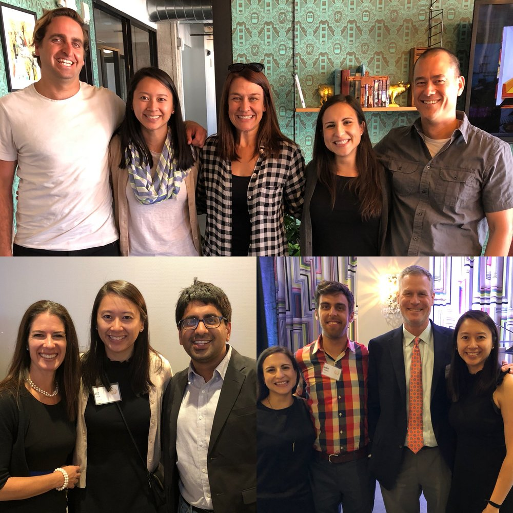 Top picture -- Michael (Nitid), Liz, Laura (Power to Decide), Cristina, and Jeremy  (Nitid Bit) gathered at Nitid's co-working space at WeWork Golden Gate for lunch and brainstorming. Bottom picture(s) -- Naya Bloom, Liz, Vinit (Learn Capital) reunited (Naya and Vinit supported Liz and Vichi when they were finalists for TFA's Social Innovation Award back in 2014) and Cristina, Dan (MyHealthEd board member, Clever), Kurt (Department of Health Behavior, UNC), and Liz networked at the Arthur and Toni Rembe Rock Social Innovation Award dinner.