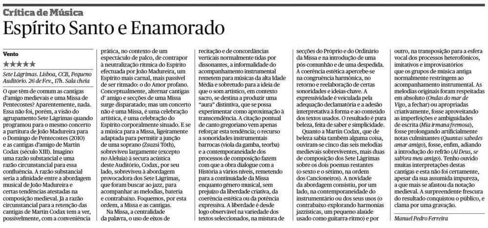 Crítica ***** Jornal Público, Manuel Pedro Ferreira