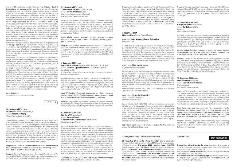 Programa Desdobrável Fora do Lugar 2014