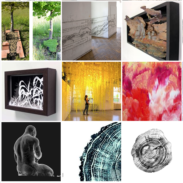 A sampling of the other artists included in Field Art (my work is in lower left square).