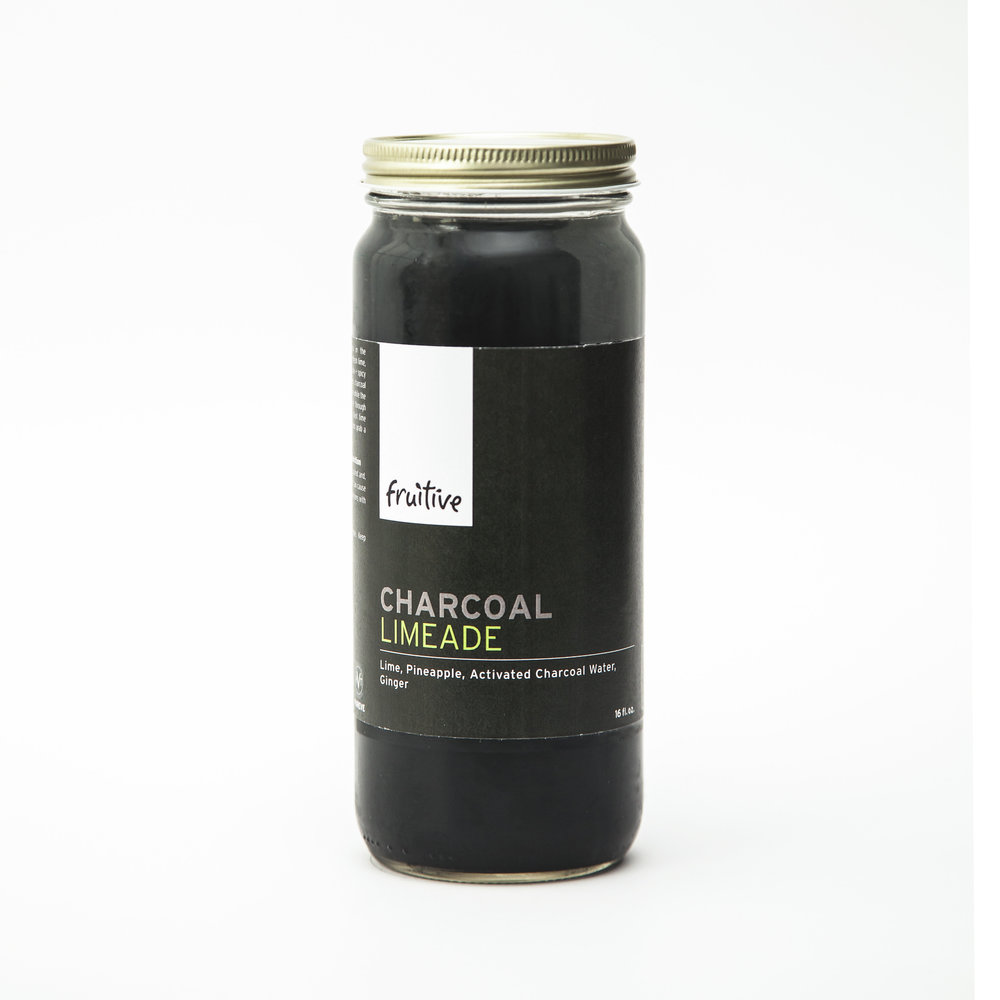 Charcoal Limeade:  Lime, Pineapple, Activated Charcoal Water, Ginger