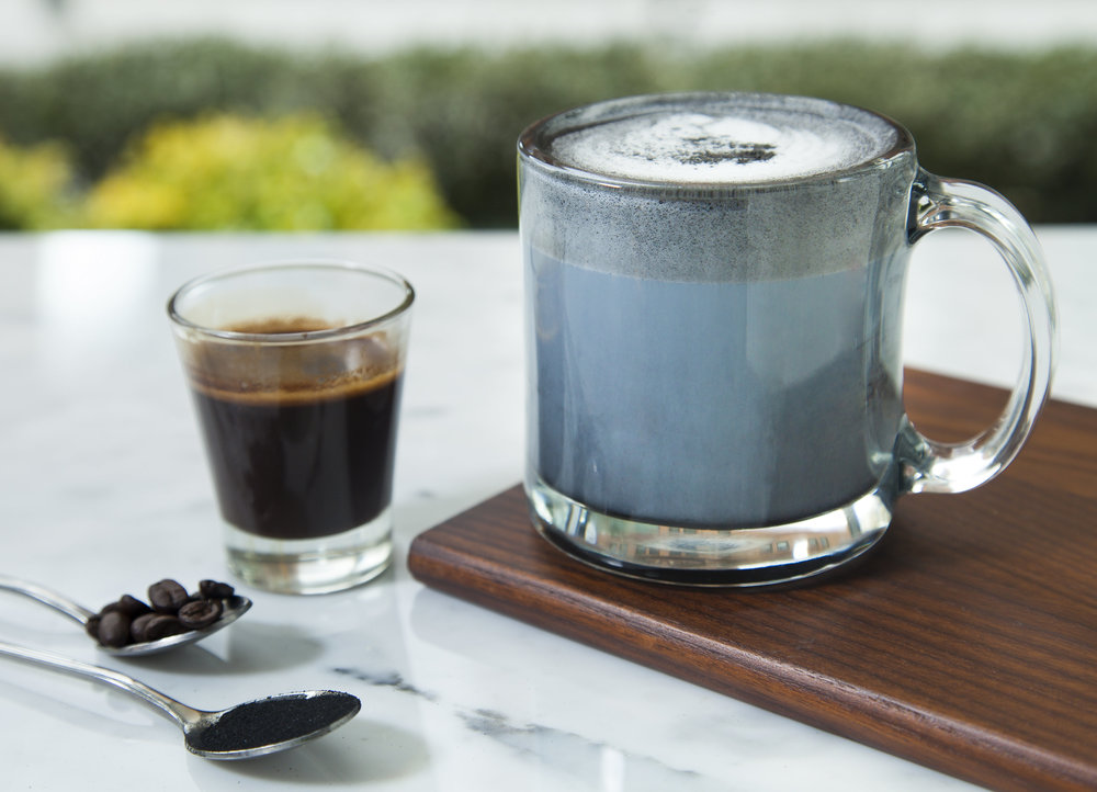 Activated Charcoal Latte (available only at our Norfolk locations):  Coconut Milk, Activated Charcoal, Simple Syrup