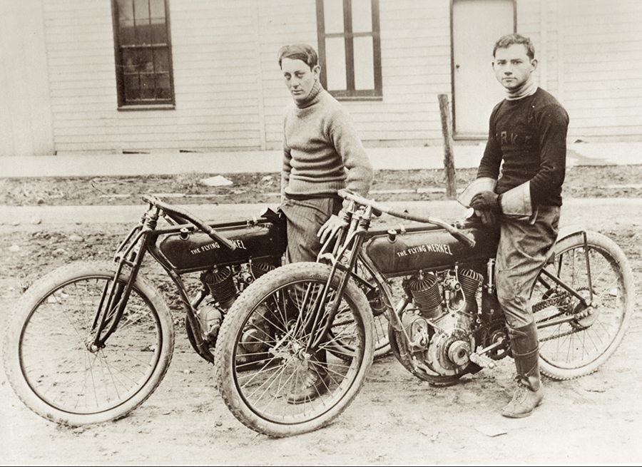 Maldwyn Jones and Cleo Pineau, two prolific pioneer American motorcycle racers for Flying Merkel.  Photo courtesy of Archive Moto