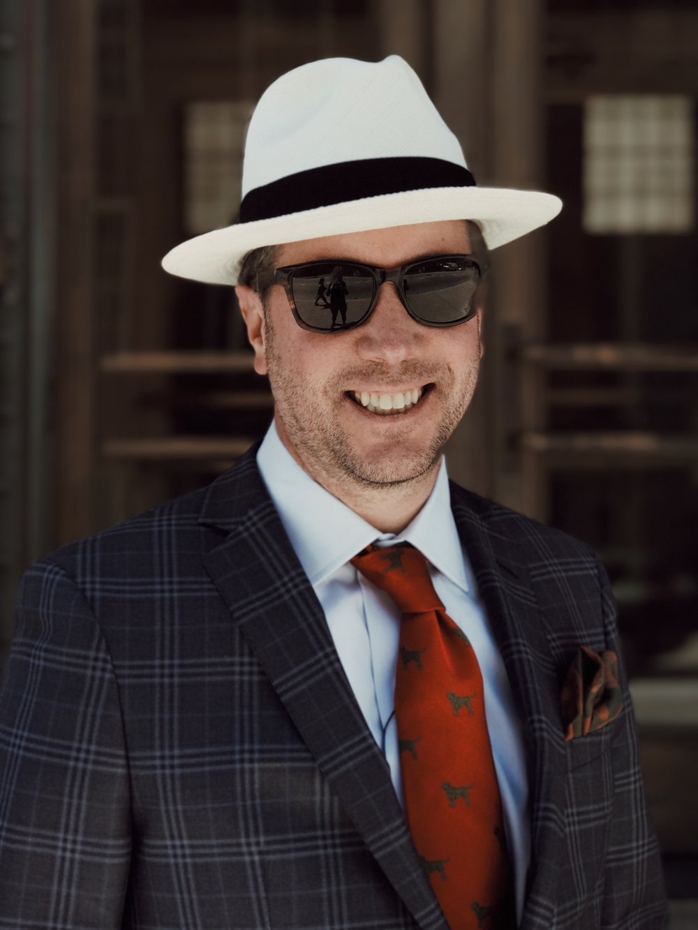 On Craig: Hat: Scala, Sunglasses: Shwood, Shirt: Ledbury, Sportcoat: BluJacket, Necktie & Pocket Square:  Seaward & Stern