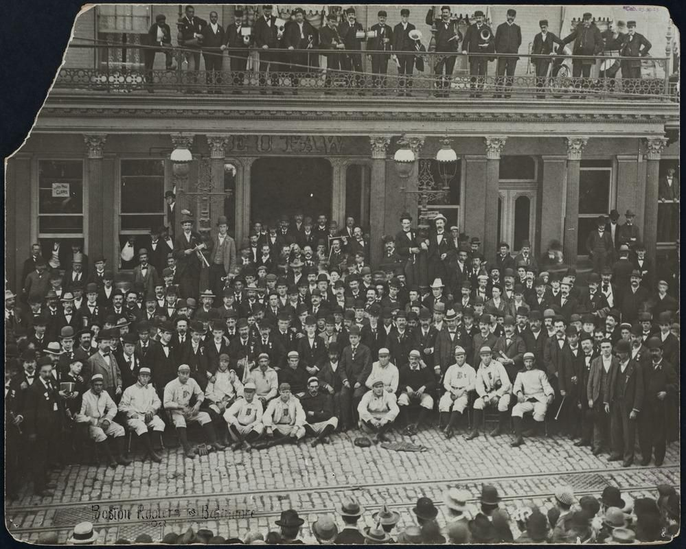 "Photo of the Beaneaters with ""Nuf Ced"" and his Royal Routers at the Eutaw House in Baltimore on September 1897"