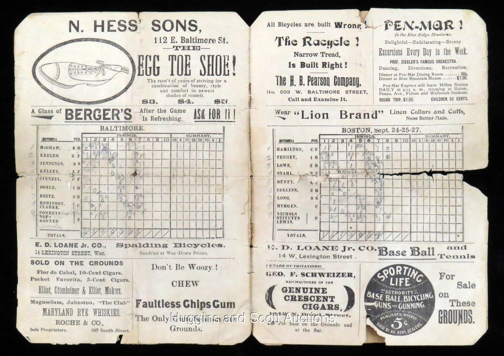 Score Card from the 1897 Boston Baltimore Series.